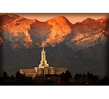 Mount Timpanogos Temple Fiery Sunset Photographic Print