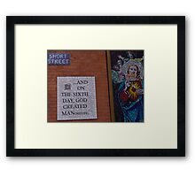 On the sixth day God created Manchester Framed Print