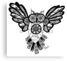 Black and White Owl in Flight Canvas Print