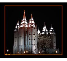 Salt Lake Temple at Night Photographic Print