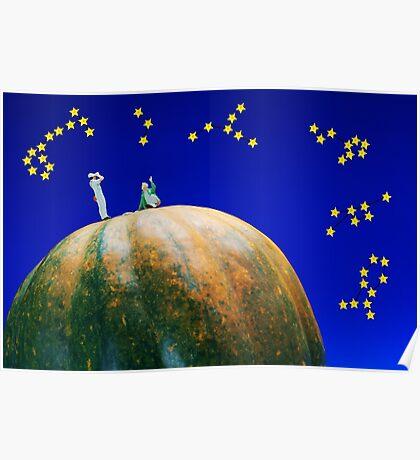 Star Watching On Pumpkin Poster