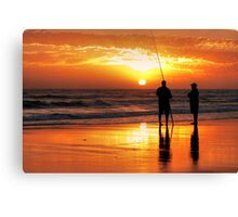 Two Mates Fishing Canvas Print
