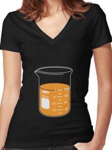 beaker elixir (orange) Women's Fitted V-Neck T-Shirt
