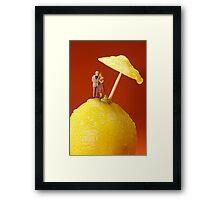 A Couple In Lemon Rain Framed Print