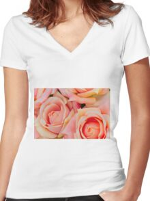 roses art of cloth Women's Fitted V-Neck T-Shirt