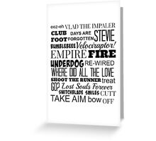 Kasabian Songs  Greeting Card