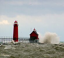 Stormy Grand Haven Lighthouse by Brion Marcum