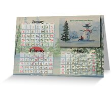 Snowmen Calendar Greeting Card