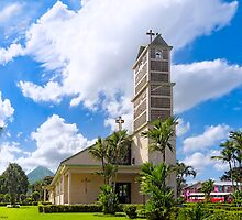 Iglesia de la Fortuna y Arenal - Church and Volcano in Costa Rica by Mark Tisdale
