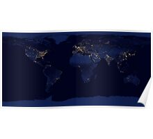 Lights Across The World - Fantastic Image of the World At Night / Night Lights Poster