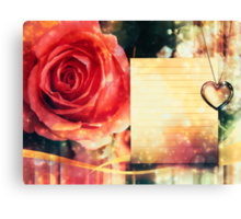 Card with rose and pendant Canvas Print