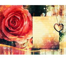 Card with rose and pendant Photographic Print