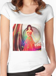 Lady in red dress 3 Women's Fitted Scoop T-Shirt