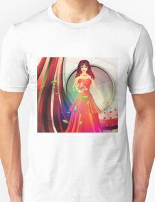 Lady in red dress 3 Unisex T-Shirt