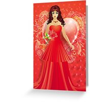 Lady in red dress 5 Greeting Card
