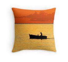 Ocean Orange Throw Pillow