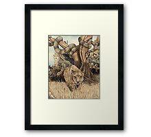 Smilodon & Titanoboa Framed Print