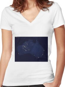 Austrailia At Night - As Seen From Space Women's Fitted V-Neck T-Shirt