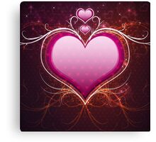 Pink heart and floral Canvas Print