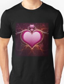 Pink heart and floral Unisex T-Shirt
