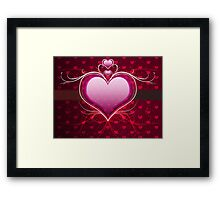 Pink heart and floral 2 Framed Print