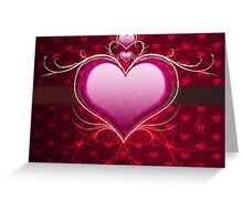 Pink heart and floral 2 Greeting Card