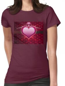 Pink heart and floral 2 Womens Fitted T-Shirt