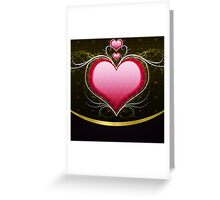 Pink heart and floral 3 Greeting Card