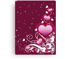 Pink heart and floral 4 Canvas Print