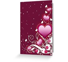 Pink heart and floral 4 Greeting Card