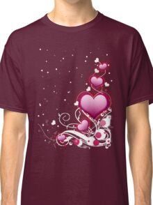 Pink heart and floral 4 Classic T-Shirt