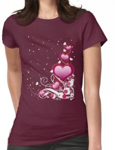 Pink heart and floral 4 Womens Fitted T-Shirt