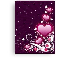 Pink heart and floral 6 Canvas Print