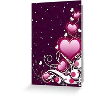 Pink heart and floral 6 Greeting Card