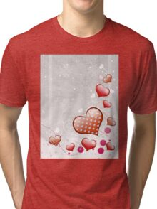 Pink heart and floral 7 Tri-blend T-Shirt