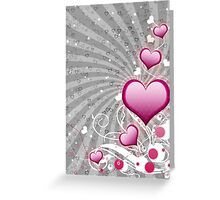 Pink heart and floral 8 Greeting Card