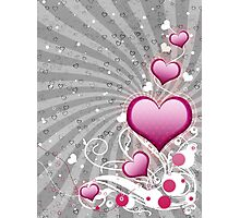 Pink heart and floral 8 Photographic Print