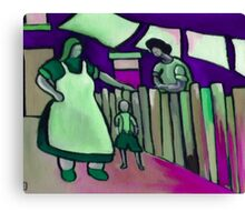 Gossip over the fence  Canvas Print