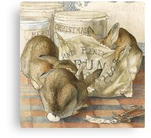 Merry Christmas Rabbits Canvas Print