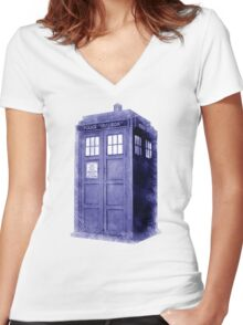 Blue Box Hoodie / T-shirt Women's Fitted V-Neck T-Shirt