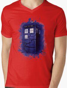 Scratch Blue Box Hoodie / T-shirt Mens V-Neck T-Shirt