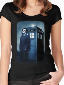 doctor smith tee Tardis Hoodie / T-shirt Women's Fitted Scoop T-Shirt