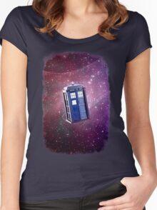 Blue Box nebula Tee Tardis Hoodie / T-shirt Women's Fitted Scoop T-Shirt