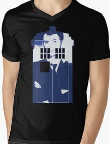 New Blue Box T-Shirt Tardis Tee Mens V-Neck T-Shirt