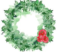 Watercolor Christmas wreath by Ilze Lucero