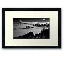 Misted Moonrise Framed Print