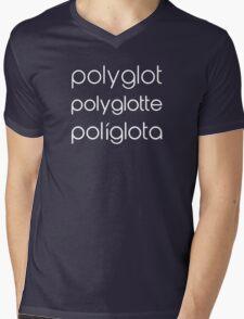 Polyglot Polyglotte Polyglota Multiple Languages Mens V-Neck T-Shirt