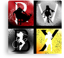 Team RWBY 4 Way Combo Characters Canvas Print