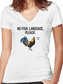 No Foul Language Fowl Women's Fitted V-Neck T-Shirt