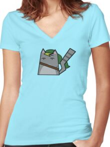 Link Cat Women's Fitted V-Neck T-Shirt